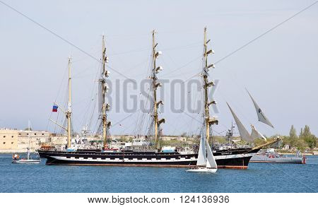 SEVASTOPOL, RUSSIA  ?? MAY 7, 2015: Russian sailing ship Kruzenstern (four-masted barque and tall ship that was built in 1926). She is now a Russian sail training ship.