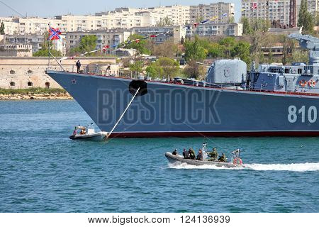 SEVASTOPOL, RUSSIA  ?? MAY 7, 2015: Smetlivy warship: guided missile destroyer of the Russian Navy in the Crimea