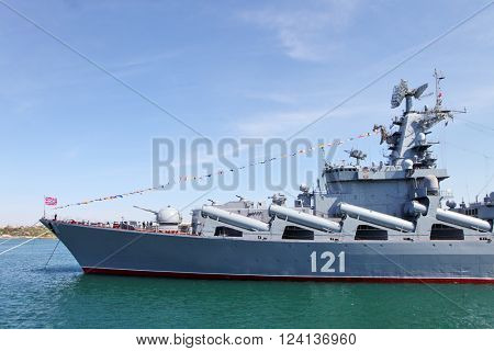 SEVASTOPOL, CRIMEA - MAY 7, 2015: Russian Navy flagship cruiser Moskva in the Sevastopol Bay, Crimea