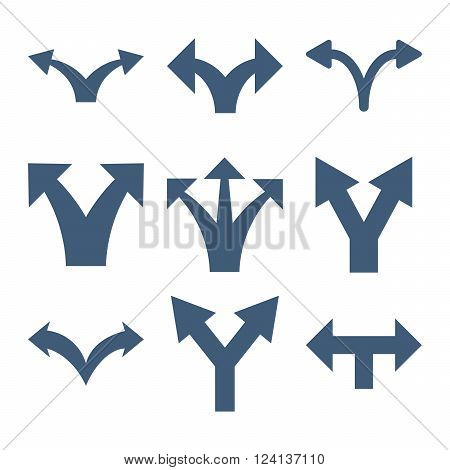 Separate Arrows vector icon set. Collection style is blue flat symbols on a white background. Separate Arrows icons.