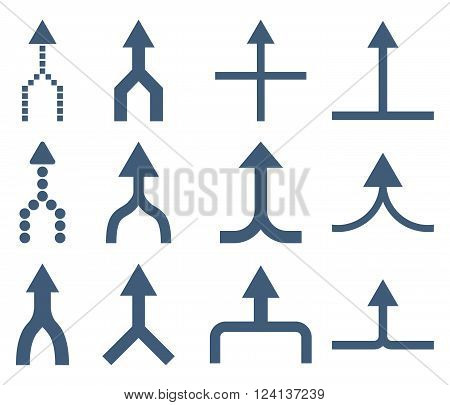 Unite Arrows Up vector icon set. Collection style is blue flat symbols on a white background. Unite Arrows Up icons.