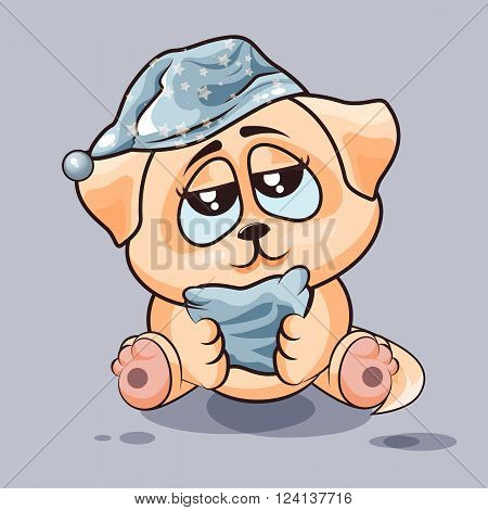 Vector Stock Illustration isolated Emoji character cartoon sleepy dog in nightcap with pillow sticker emoticon for site, infographics, video, animation, websites, e-mails, newsletters, reports, comics