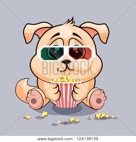 Vector Stock Illustration Emoji character cartoon dog chewing popcorn, watching movie in 3D glasses sticker emoticon for site, infographic, video, animation, website, e-mail, newsletter, report, comic