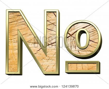Number sign from pine wood with gold frame alphabet set isolated over white. 3D illustration,