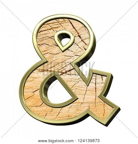 And sign from pine wood with gold frame alphabet set isolated over white. 3D illustration.