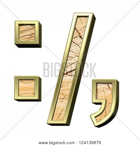 Signs from pine wood with gold frame alphabet set isolated over white. 3D illustration.