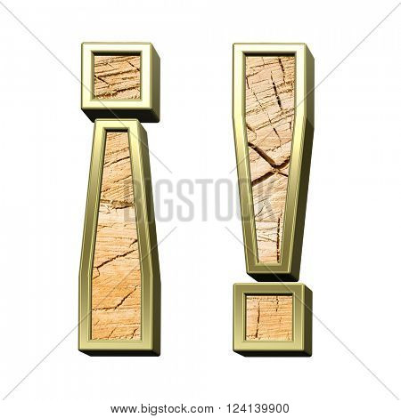 Exclamation mark from pine wood with gold frame alphabet set isolated over white. 3D illustration.