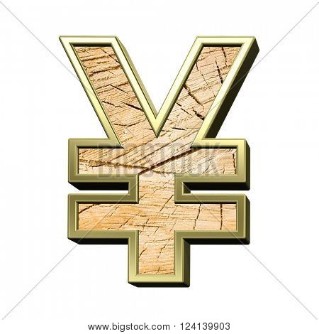 Yen sign from pine wood with gold frame alphabet set isolated over white. 3D illustration.