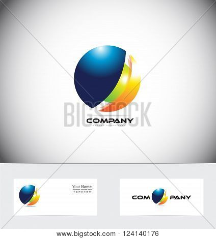 Vector company logo icon element template sphere 3d global communication circle