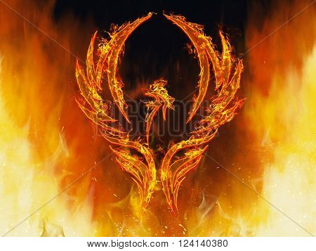3d render of a phoenix bird in flames with wings rising from a fiery furnace.