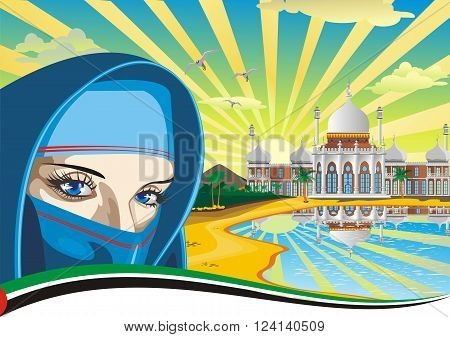 Arab girl. Arabic Palace on the coast. The scenery in the vector