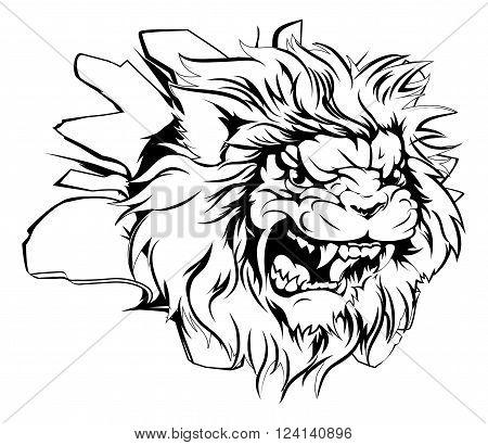 Lion Head Breaking Through Background