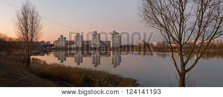 Gomel, Belarus - March 27, 2016: Beautiful View Of Evening Gomel With Reflection In The Lake