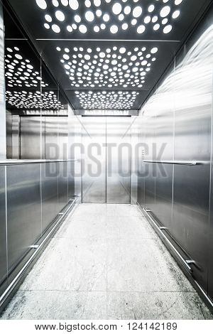 interior massive steel elevator - lighting led