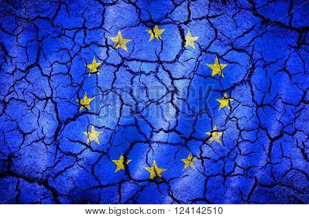 european union flag on a cracked background