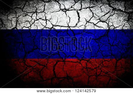 Russian flag on a cracked background. dark vignette