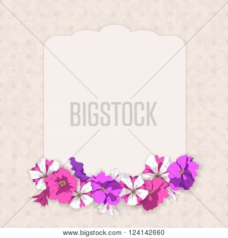 Romantic figurate card in vintage style, with a grunge background texture and frame of pink, purple, striped, purple petunia flowers