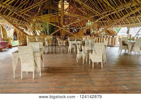 Tentena, Indonesia - Dec 12, 2015: Bamboo House by the Poso lake, built predominantly using bamboo. It's designed by Effan Adhiwira.