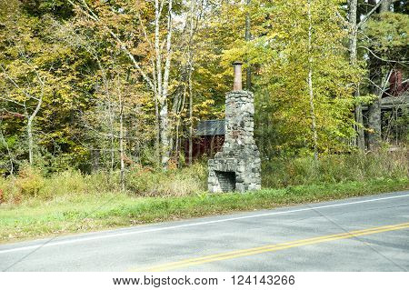 Old stone fireplace only artifact remaining from house long gone