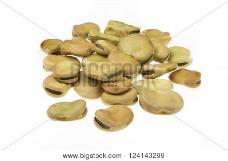 Dried broad beans isolated on white background