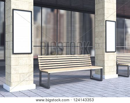 Bench under portico between columns, black posters on them. Side view. Concept of bus stop. Mock up. 3D rendering