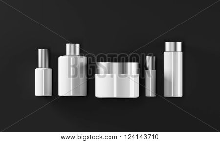 Row of cream boxes of different shapes. Black background. Concept of cosmetics. Mock up. 3D rendering