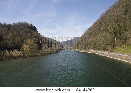 Wintry landscape of the Serchio river in Garfagnana Tuscany Italy