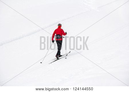 Cross-country skiing in nature park Fanes Senes Braies Dolomites Italy