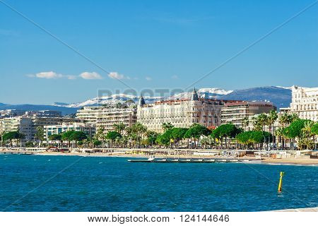 Cannes, France, - March 1, 2016: Panoramic view of Cannes Promenade de la Croisette the Croisette and Port Le Vieux of Cannes France Cote d'Azur