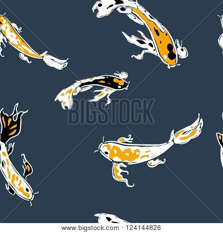 Koi carps in pond seamless pattern. Peaceful floating fish. Oriental symbol of luck. Yellow vector carp on blue background