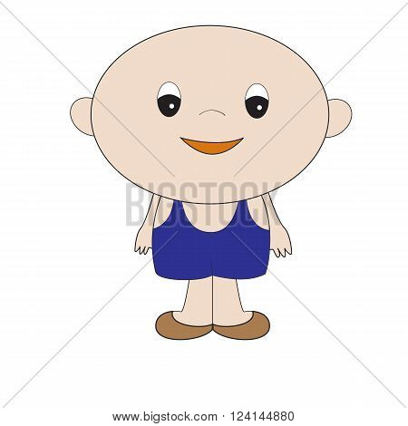 little boy in blue overalls shorts with straps