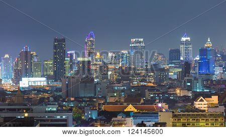 Night view city central business downtown background