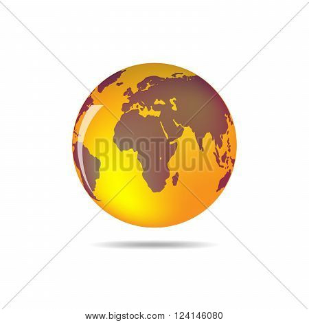 Orange and brown vector Earth globe isolated on white. Bright simple scheme of the globe. Globe earth Icon - vector illustration.