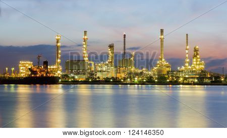 Petroleum refinery riverfront during sunrise, Bangkok Thailand