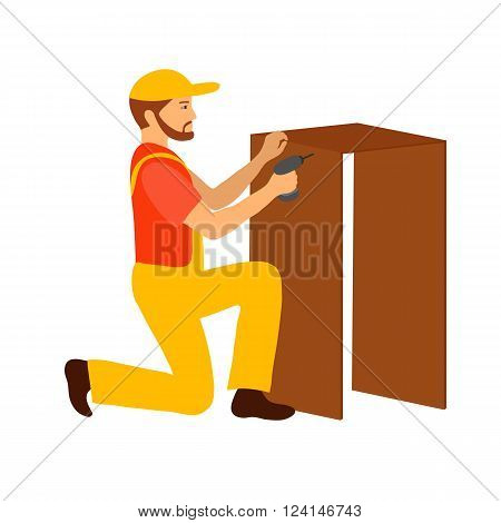 Collector of furniture. Vector illustration. Isolated objects on white background.