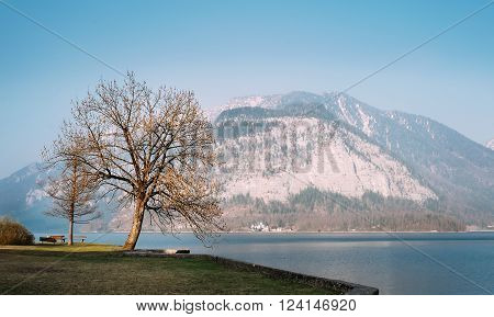 Evening time on mountain Hallstatt lake in Austria