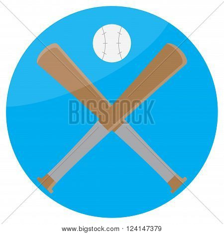 Icon baseball design flat. Baseball bat and sport baseball icon game equipment softball american league play. Vector flat design illustration