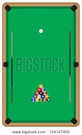 Pool table with balls and cue. Pool billiards and pool balls billiard table and snooker table game room snooker sport game pool hobby and leisure play. Vector flat design illustration