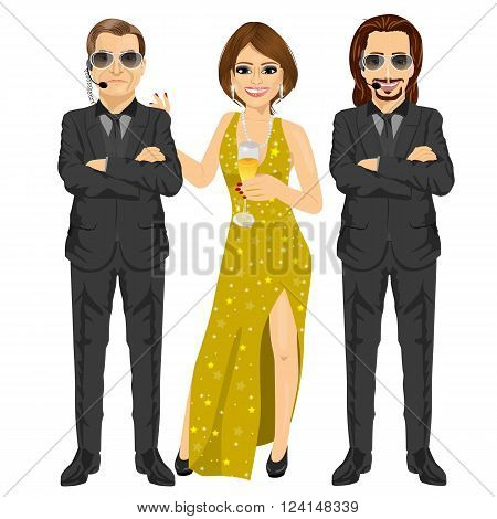 professional security guard standing with arms folded protecting famous woman with a glass of champagne isolated on white background