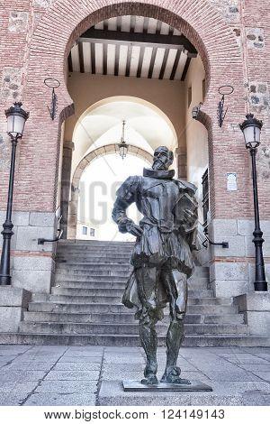 TOLEDO SPAIN - MARCH 23 2016: Statue of the writer Cervantes located next to the Plaza de Zocodover of Toledo. Spain.