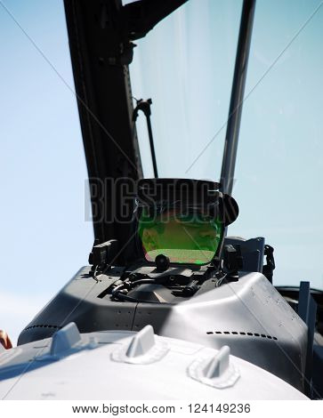 IZMIR/TURKEY-JUNE 5, 2011: Turkish Air Force F-16 Fighting Falcon's pilot in the cockpit at 2nd Main Jet Base-Cigli for Airshow. June 5, 2011-Izmir/Turkey