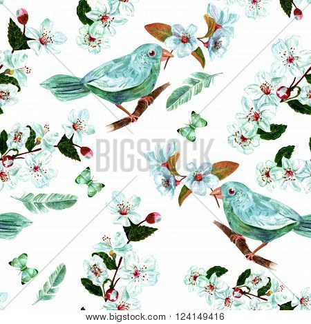 A vintage style seamless background pattern with watercolor drawings of a teal blue bird holding a branch of plum blossoms in its beak with a feather and a butterfly