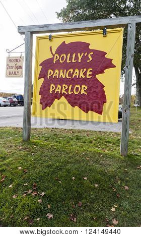 NEW HAMPSHIRE/USA - SEPTEMBER 30 2009: Sign for Polly's Pancake Parlor a popular New Hampshire restaurant