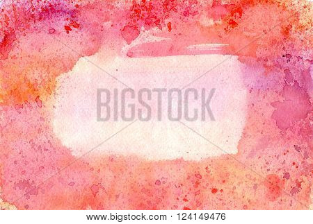 An abstract watercolor background texture with hues of pink purple and orange with brush strokes splashes of color and a place for text
