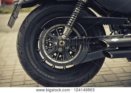 Wroclaw, Poland June 27, 2015:wheel And Logo Of Harley - Davidson During The Motorshow In Wroclaw Ju