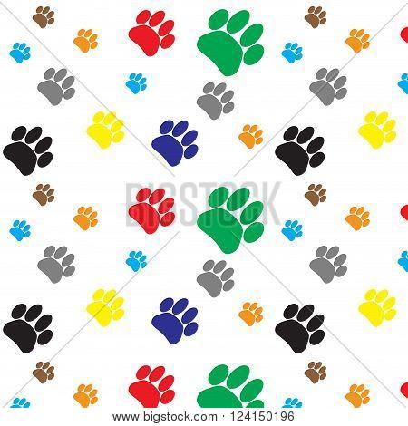 Pattern color dog animal foot print. Print paw and footprint pet wildlife cat walk trace. Vector flat design illustration