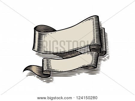 Vector drawing of isolated fluttering ribbon on the white background