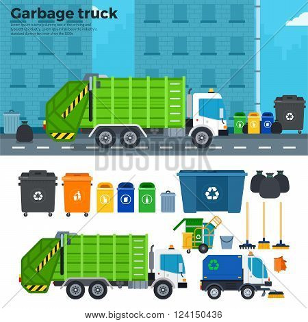 Garbage truck vector flat illustrations. Garbage car on the street. Ecology and reduce concept. Garbage car, trash cans, rake, brooms isolated on white background