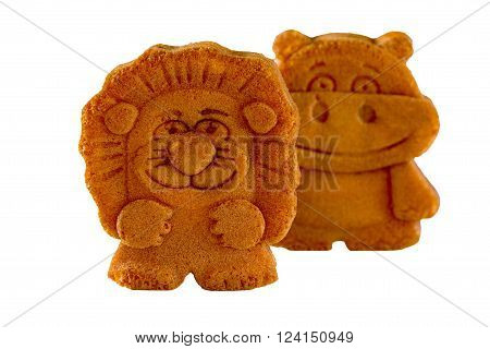 Biscuits With Filling In The Form Of A Lion And A Hippopotamus
