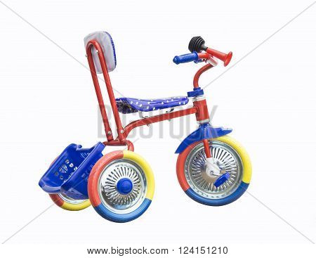 Colour tricycle is insulated on white background